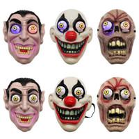 маскарадный макияж оптовых-Led Light Halloween Horror маска для клоуна Vampire Eye Mask Косплей Стиль Макияж Performance Маскарад анфас Party Mask ZZA1144