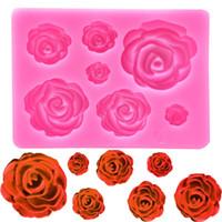 fondant de rosas al por mayor-Rosa flores molde de silicona pastel de chocolate molde de boda herramientas de decoración de pasteles Fondant Sugarcraft pastel molde