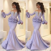 Wholesale mermaid sweetheart prom dresses crystal beads for sale - Group buy 2019 Vintage See Through Lavender Mermaid Prom Dresses Long Sleeve Peplum Crystal Beads Floor Length Plus Size Formal Evening Party Gowns