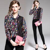gömlek için yay toptan satış-2019 Yaz Pist Moda Mektup Baskı Tasarımcı Bluzlar Kadınlar bayanlar Casual Ofis Düğme Ön Papyon Boyun Uzun Kollu Ince Gömlek Tops