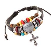 Wholesale leather bracelets resale online - Cross Leather Bracelets Bead Bracelets New Jewelry Cross I Love Jesus Church Gifts Valentine s Day Gift