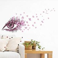 couples mur d'art achat en gros de-Beaux Papillons Mur Art Longs Cils Œil Vinyle Autocollant pour Chambre Coeur Décor Couple Amoureux Salon Maison Murale DIY PVC Decorat