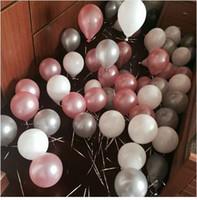 inflables al por mayor-50 piezas 1.5 g 10 pulgadas Globos de látex de perlas Aniversario de bodas Fiesta de cumpleaños de San Valentín Decoración Helio Inflable Balaos Suministro