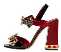 calçados de pedra de cristal venda por atacado-Luxo Pedra De Gema Saltos De Bloco Do Partido Moda Snakeskin Sandálias De Salto Alto Plus Size 10 Cristal Sapato De Verão