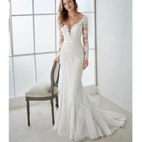 sirena vestido de novia blanco al por mayor-2019 nuevos apliques blancos sirena vestidos de novia de manga larga cuello en v profundo vestidos de boda de país barrido personalizado tren más vestido de boda