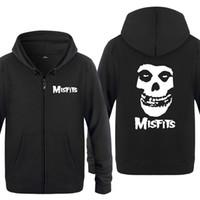люди из панк-рока оптовых-The MISFITS Punk Rock Music Sweatshirts Men 2018 Mens Zipper Hooded Fleece Hoodies Cardigans