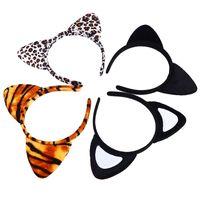 ingrosso gatto del partito-Coreano panno corto peluche tigre leopardo orecchio gatto fascia carino donne ragazze bambini festa festival fantastico accessori per capelli HairBand