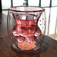 ingrosso gatto rosa caldo-Hot Cute Pink Cat Artiglio tazze di vetro del fumetto tazze da caffè tazza per Creative Cherry Blossoms ragazza doppio strato di vetro tazza di tè regali