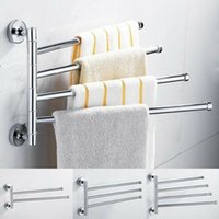 Wholesale Bathroom Stainless Steel Swivel Swing Arm Towel Holder Bar Rails Rack Wall Wall mounted Movable Towel Rod Bathroom Storage