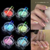 nuevo gel de uñas en polvo al por mayor-Nuevo 6 de color hielo transparente Espejo sirena polvo de gel UV Pigmento polvo mágico polvo láser Decoración de uñas