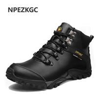 sapatas pretas do tornozelo do negócio venda por atacado-NPEZKGC Ankle Boots para Homens Homens De Negócios Botas de Alta Top Sapatos Casuais de Couro Ao Ar Livre Dos Homens Sapatos de Inverno Masculino Preto marrom bota
