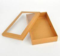 caixas de presente janelas venda por atacado-22 * 14 * 4.3 cm pacote de caixa de presente de papel Kraft com clara janela pvc doces favorece krafts caixa de pacote de exibição caixa de lenços zhao