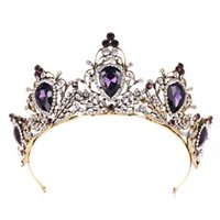 prinzessin tiara krone lila großhandel-Vintage Deep Purple Kristall Krone Für Frauen Königin Prinzessin Strass Diadems Braut Diademe Kronen Hochzeit Haarschmuck