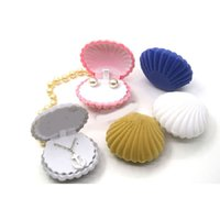 ingrosso scatola di velluto-Jewellery Organizer Box Anelli / Orecchini Storage Small Gift Box Fai da te Craft Display Wedding / etc Velluto Shell Shape per collana / bracciale / ecc