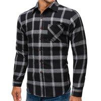 bolsillo de la camisa para hombre negro al por mayor-Camisas de vestir de algodón de lijado casual solo bolsillo delgado camisa a cuadros Hombre manga larga blusa de los hombres negro gris