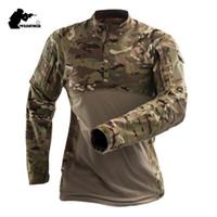 ingrosso maglietta camouflage dell'esercito-Mens Camouflage T-Shirt T Shirt Manica Lunga Cotone Traspirante Combattimento Rana Tshirt Uomo Formazione Camicie S-3XL