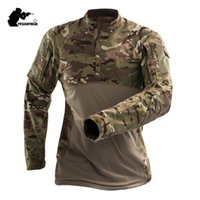 Wholesale army combat shirts online - Mens Camouflage Tactical T Shirt Long Sleeve Cotton Breathable Combat Frog Tshirt Men Training Shirts S XL