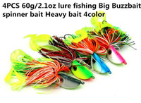 Wholesale big spinner lures resale online - 4PCS g oz lure fishing Big Buzzbait spinner bait Heavy bait color deepwater Fatal Attraction High quality