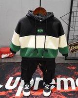 bebek pistleri toptan satış-Kış bebek Erkek Giyim Setleri kalın peluş hoodie + peluş pantolon 2 Adet Çocuk Giyim Setleri Yürüyor Marka Parça 2-6years