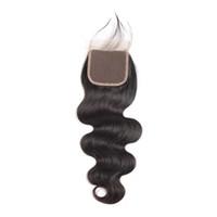 onda do corpo remy do cabelo burmese venda por atacado-Fechamento superior do laço de LEDON 4x4, onda do corpo BW, cor 1B preto, densidade 130%, Extensões remotas do cabelo humano de 100% Burmese, 1 parte