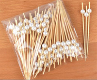 Wholesale stick fork resale online - New Dining bag Disposable Party Tableware Bamboo Forks Wedding Supplies Buffet Fruit Desserts Sticks Cupcake Toppers Cocktail Picks
