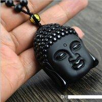 Wholesale black head scrub for sale - Group buy 2017 New Buddha Bead Natural Obsidian Scrub Necklace Black Rulai Head Pendants Transhipped Buddha Head Necklace