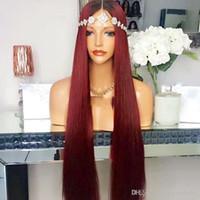 perruques avant en dentelle blanche achat en gros de-Synthétique Lace Front Wigs Burgundy Color Ombre Sans Colle Lié À La Main Fibre De Cheveux Résistant À La Chaleur Ombre Rouge Perruques Synthétiques Pour Les Femmes Blanches