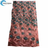 Wholesale super african cotton fabric resale online - 2019 Swiss Voile Lace In Switzerland African Embroidery Lace With Stones Yards Piece Guipure Lace Fabric With Super Quality