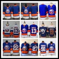 new york islander hokeyi mayo toptan satış-2019-2020 Dikişli ekler New York Islanders Blank # 13 BARZAL # 22 BOSSY # 27 LEE # 91 TAVARLAR Mavi Hokey Formaları Buz