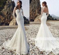 robes de mariée d'été de sirène achat en gros de-Robe de mariée sirène d'été en dentelle à manches longues en mousseline de soie d'été à la plage