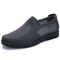 sapatos casuais de barco alto venda por atacado-homens sapatos casuais verão respirável malha sapatos baixos high-end sapatos mocassins confortáveis deslizamento em sapatas de barco homens tênis Big Size