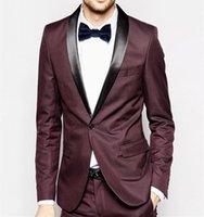 pajarita de borgoña para hombre al por mayor-Nuevo estilo clásico con un solo botón Burgundy Wedding Groom Tuxedos Shawl Lapel Groomsmen Mens Dinner Blazer Suit (Jacket + Pants + Bow Tie) 458