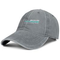 sombreros de mezclilla de las mujeres al por mayor-Para hombres y mujeres, lavado de sombreros de mezclilla vintage Diseño del logotipo de Mercedes AMG ajustable Tapas planas Tapas de papá tamaño único para exteriores