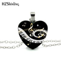 Wholesale piano pendant for sale - Group buy New Grand Piano Heart Necklace Music Piano Heart Pendant Black and White Piano Keys Jewelry Women Heart Shaped Necklace HZ3