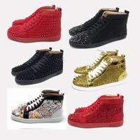 altlıklar toptan satış-Büyük boy 2019 kırmızı alt ayakkabı deri Süet spike ayakkabı erkekler kadınlar kutusu eur35-47 ile toz torbası