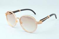 çerçeveli süsler toptan satış-19 yıllık yeni lüks yuvarlak çerçeve elmas güneş gözlüğü T19900692 retro moda altın şapka doğal siyah boynuzları ayna bacaklar süs