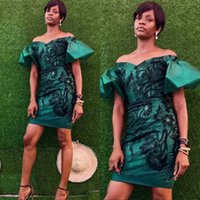 Wholesale hunter green dresses women resale online - Dark Green Strapless Cocktail Dresses Short Front Attractive Evening Party Dress for Women Poet Sleeves Prom Gown