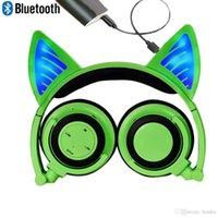 mavi kedi kulakları toptan satış-Bluetooth MIC Ücretli Kablosuz Hearsets Kedi Kulak Katlanabilir Ayarlanabilir Flaş Mavi Işık Kulaklıklar iPhone Android Cep ...