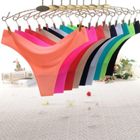 Wholesale hot strings panty resale online - women clothes Thong Ice Silk Summer Sexy Seamless designer Panty Low rise G string Ultra thin lady Underwear sexy lingeries panties hot