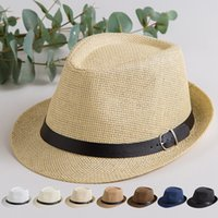 Wholesale trendy fedora resale online - Fashion Panama Straw Sun Hat Summer Casual Woman Trendy Beach Sunshade Straw Hat Men Cowboy Fedora Cap TTA1093