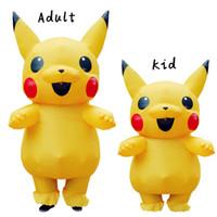 aufblasbare kostüme für frauen großhandel-Pikachu aufblasbares Kostüm Peluche Maskottchen-Kostüm für Kinder Erwachsener Männer Frauen Party Aufblasbare Kostüm