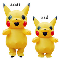 şişme erkek kadınlar toptan satış-Pikachu Şişme Kostüm Peluche Maskot Kostüm Çocuklar Yetişkinler için Erkek Kadın Parti Şişme Kostüm