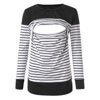 кормящая грудью одежда оптовых-Материнства женщин кормящих полоса с длинным рукавом шею грудное вскармливание блузка грудное вскармливание рубашка кормящих одежда для женщин 2019