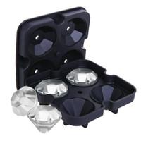 коктейльные подносы оптовых-Творческий силиконовые кубики льда ромбовидной формы лоток для льда 3D силиконовые формы кубика льда винный коктейль бар аксессуары черный цвет