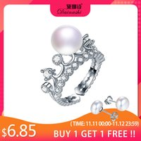 Wholesale crown set for wedding for sale - Group buy Dainashi High Quality Sterling Silver Hollow Crown Zircon Crystal Adjustable Ring Freshwater Cultured Pearl Ring for Women