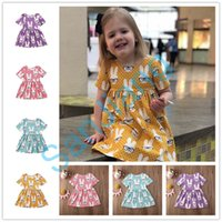 Wholesale easter clothes for babies resale online - INS Baby Girls Dress Cartoon Rabbit Easter Princess Dresses Cute Kids Skirts Bunny Summer Beach Dress Clothes for Y childrenE3803