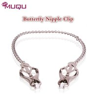 Wholesale sex toys clamps for sale - Group buy Butterfly Bosom Nipple Clamps quality metal bdsm toys chain nipple sucker sex toys for women adult sex products shop