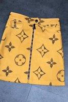 frauen vintage kleider großhandel-Sommer Brief gedruckt kurze Kleider Womens Vintage Zipper Fly A-Line Kleider hohe Taille Khaki Sommerkleider