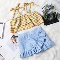traje de baño lindo al por mayor-Retal traje de baño para niños traje de baño para niños Falda dividida coreana conjunto a juego de dos piezas traje de baño lindo bebé chándal diseñador swimwears