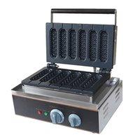 палочка для вафельных палочек оптовых-Электрическая машина для приготовления вафельных кексов для вафель Коммерческие с антипригарным покрытием 6 палочек Lolly Waffle Maker